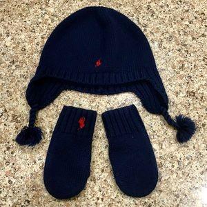 Polo logo, Ralph Lauren beanie & matching mittens